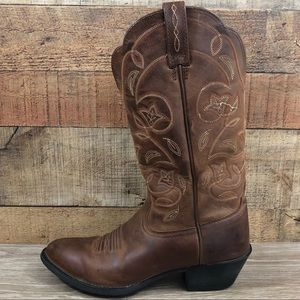Ariat brown boots leather cowboy curved toe tall